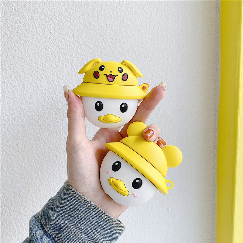 Cartoon <font><b>Pikachu</b></font> Little Yellow Duck keychain Silicone Bluetooth Wireless Earphone <font><b>Case</b></font> Cover For Apple <font><b>AirPods</b></font> Pro 3 <font><b>Case</b></font> image