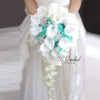 PEORCHID 2020 White Blue Waterfall Wedding Bouquet Brooch Artificial Peony Calla Lily flowers Crystal Bridal Bouquet