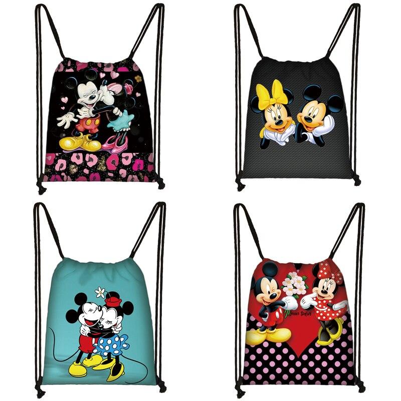 Mickey Minnie Print Drawstring Bag Women Travel Bag Teenager School Bag Brown Girl And Boy Backpack Fashion Female Storage Bag E