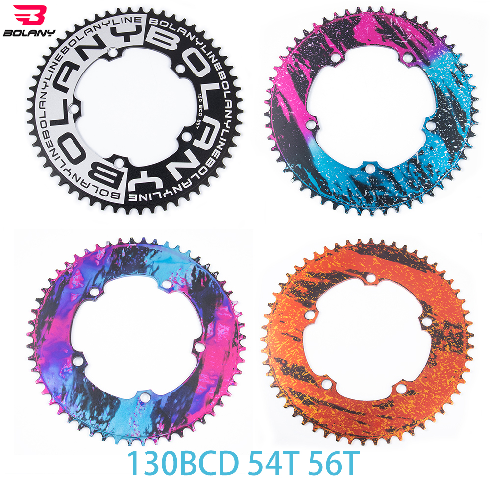 BOLANY 130 BCD BMX Folding Bicycle Chainwheel Ultralight Narrow Width Anti-Hanging Chain Plating Anode 54T 56T Aluminum Alloy