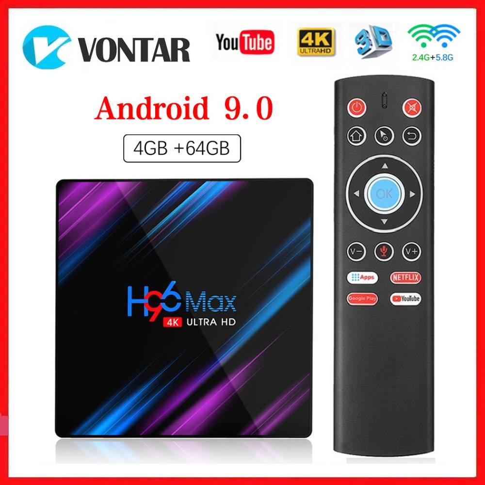 Vontar Smart TV Box Android 9.0 H96 MAX 4GB RAM 64GB ROM TVBOX 5G WiFi 4K Media Player Google Netflix Youtube Set Top BOX