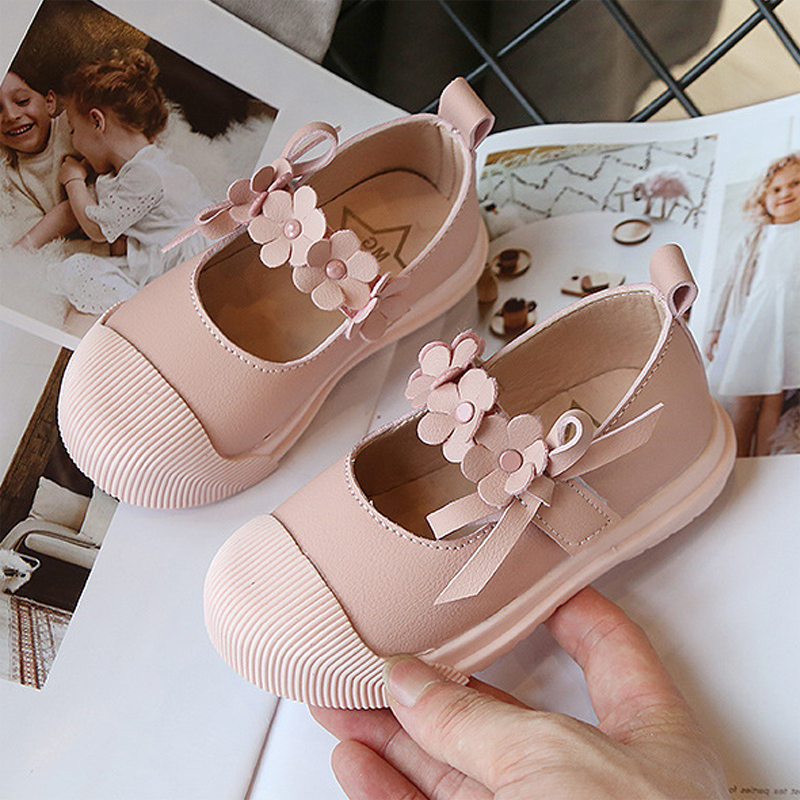 2020 New Princess Girl Shoes 3D Flower PU Leather Kids Mary Jane Shoes Little Girl Flats Spring Summer Baby Sneakers For Child