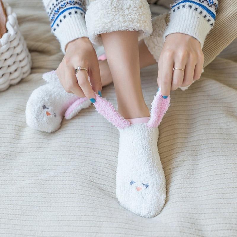 Kawaii Plush Rabbit Ear Socks Women Socks  Cartoon Bear Rabbit Warm Ankle Socks Fashion Home Floor Sleep Socks