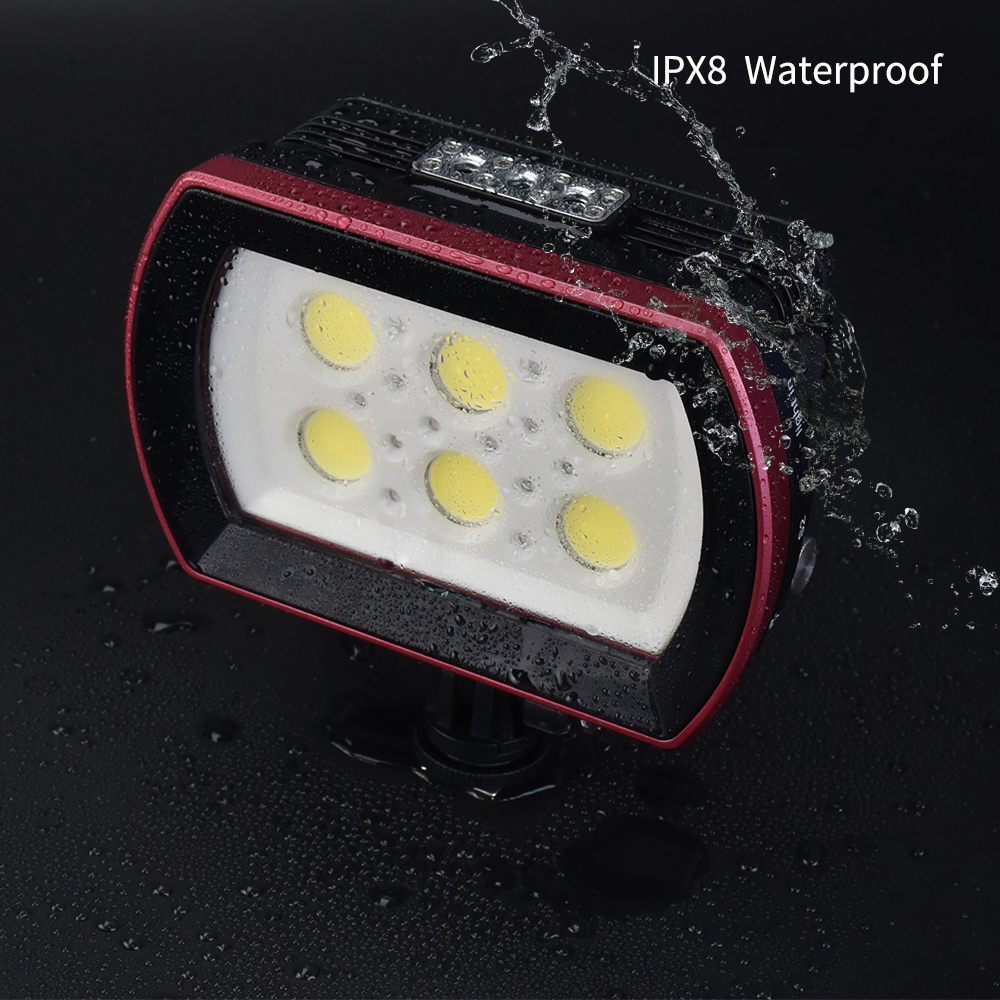 Photography SL 22 LED Diving Light Underwater Fill in Lamp 6LEDs Aluminum Alloy 40M Waterproof with White Lights Max. 6000LM - 5