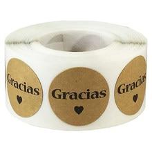 Obrigado espanhol gracias você etiquetas personalizadas etiquetas diy decoração de casamento festa de aniversário presente packging envelope etiqueta