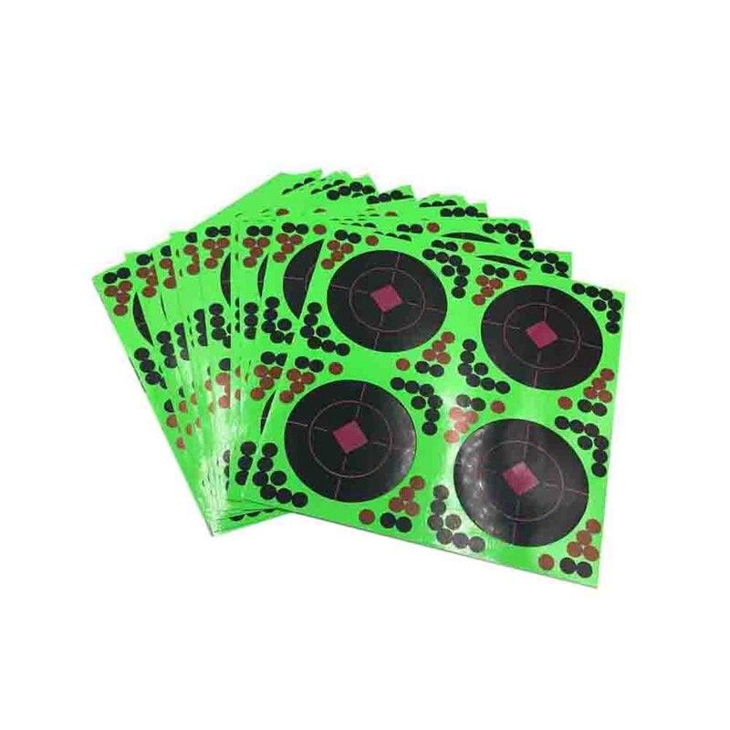 25 Sticks Pack Targets Sticks Reactive Adhesive Splash Flower Target Paper 20X20cm Firing Target High Visibility Fluorescent Gre