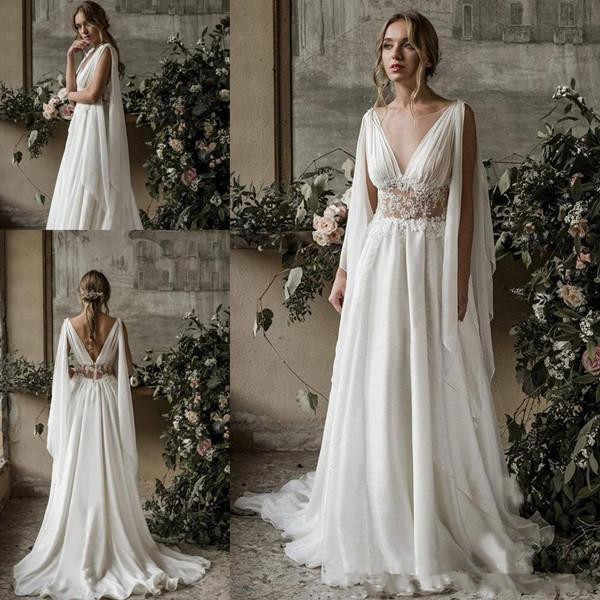 2019 New Flowey Beach Wedding Dresses With Cape Full Lace V Neck Goddess Greek Bridal Seaside Summer Holiday Wedding Gown Aliexpress,Plus Size Older Bride Wedding Dresses