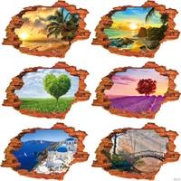 Pegatinas de pared 3D de paisaje natural, 7 tipos de 89x59cm, papel tapiz de Paisaje artístico con Vista de agujero, vinilo para decoración del hogar, castillo, árbol