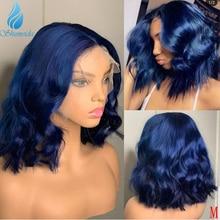 Волнистые человеческие волосы Shumeida, синий цвет, 13*6, парики спереди со средней частью, бразильские волосы Реми, волнистые человеческие волос...