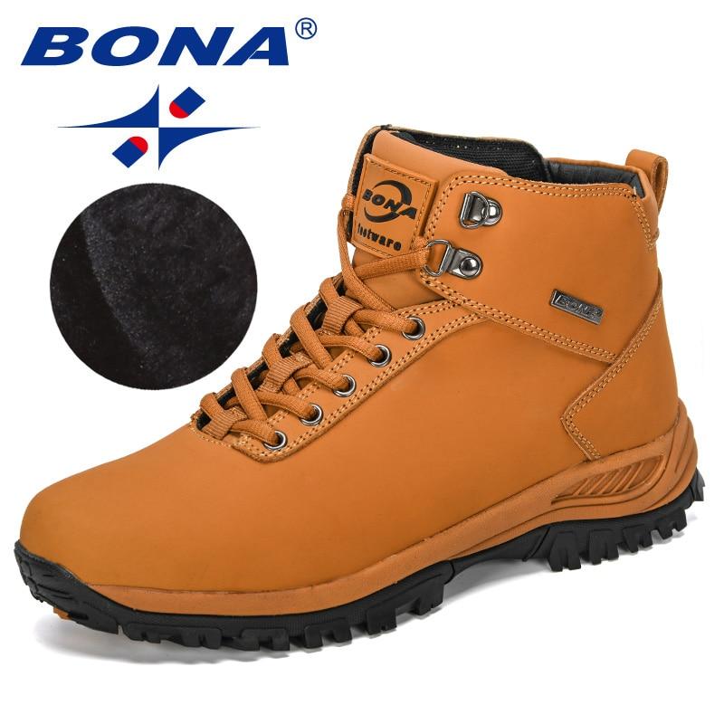 BONA 2019 New Designers Classics Winter Boots Men Nubuck Leather Ankle Boots Man Plush Snow Boots  Men Outdoor Warm Footwear