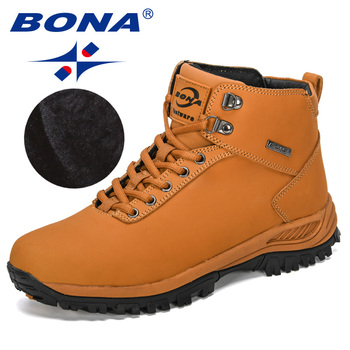 BONA 2019 New Designers Classics Winter Boots Men Nubuck Leather Ankle Boots Man Plush Snow Boots  Men Outdoor Warm Footwear