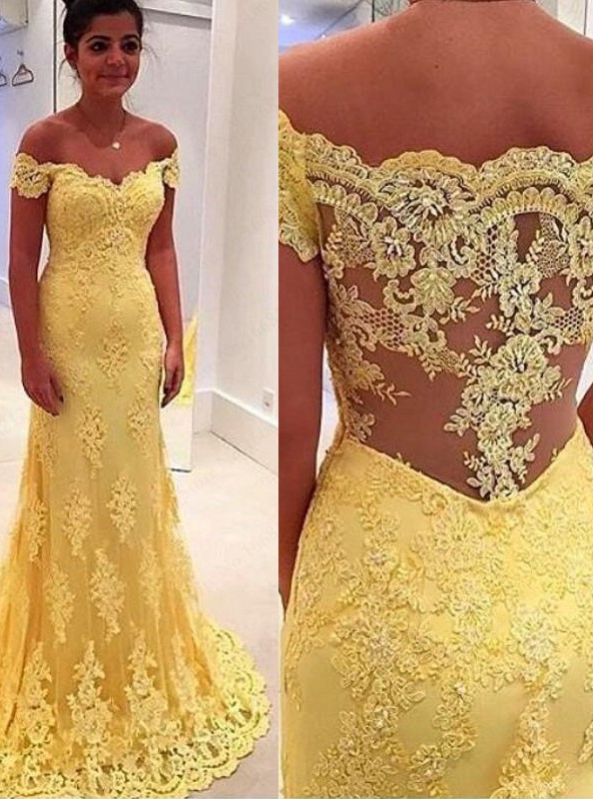 Evening Dress Mermaid Off-the-Shouler Sweep Train Side-Zipper Yellow Tulle With Lace Formal Prom Dress Party Gown