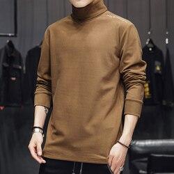 Мужской свитер с высоким воротником, свободный осенний флисовый наряд с длинными рукавами для осени и зимы