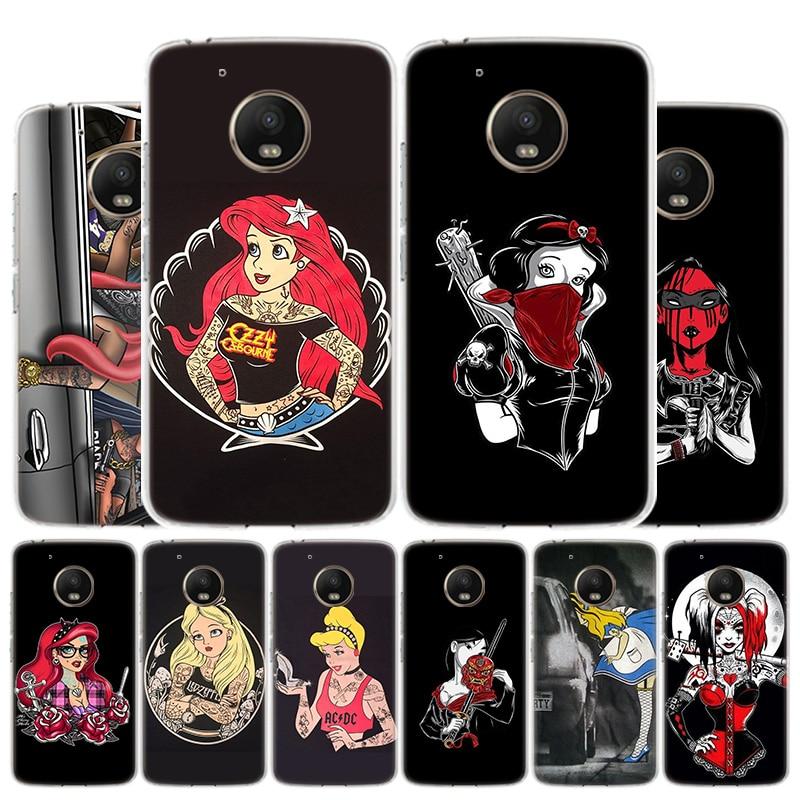 Black Tattoo Princess Phone Case For Motorola Moto G8 G7 G6 G5S G5 G4 E6 E5 E4 Plus Play Power One Action X4 Cover Coque
