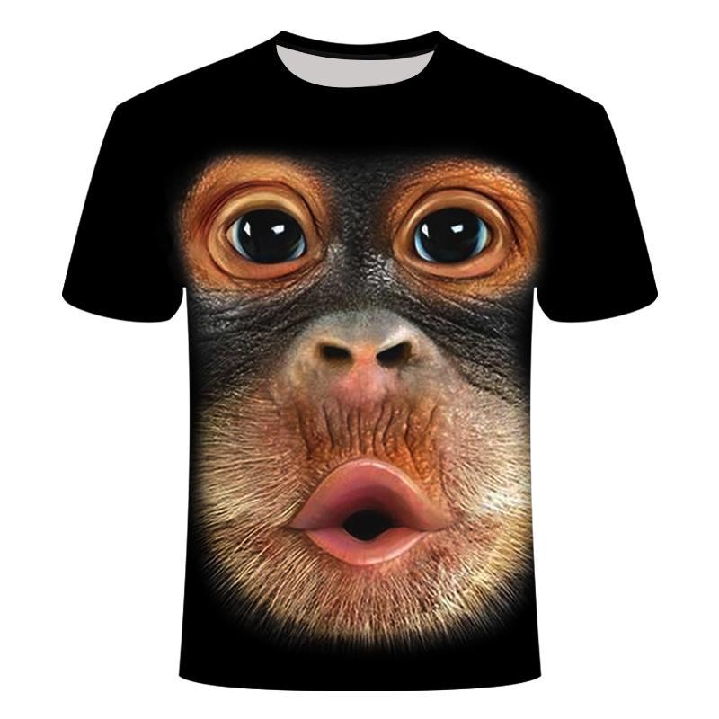 Drop Ship MEN'S 3D MONKEY T-SHIRT Patterns Can Be Customized Sweatshirt Tshirt Women's Loose Large Size 6XL Leopard Print