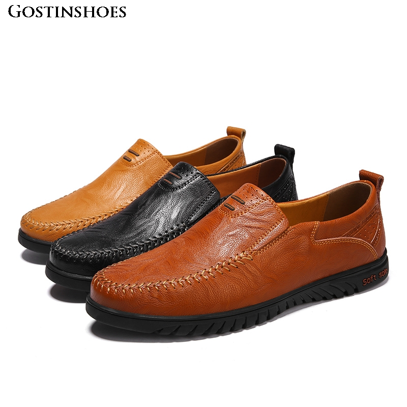 Genuine Leather Men Casual Shoes Luxury Designer Mens Loafers Moccasins Homme Slip On Driver Shoes Size 37-47