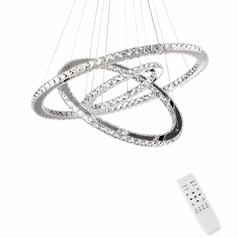 Cristal LED moderne lustres lumières pour salle à manger salon luminaire Suspension Suspension lampe avec télécommande 3 anneaux éclairage Lustre