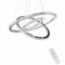 Купить с кэшбэком Modern LED Crystal chandeliers lights for dining living room Suspension Luminaire lamp 3 rings for 15-30 meters