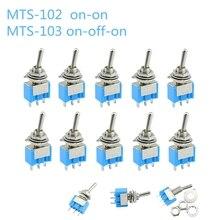 10 ピース/ロットブルーミニ MTS 102 3 ピン SPDT オン オン 6A 125VAC ミニチュアトグル MTS 103 3  ピンオン オフ オン