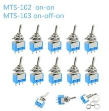 10 stk/partij Blauw Mini MTS 102 3 Pin SPDT ON ON 6A 125VAC Miniatuur Tuimelschakelaars MTS 103 3  pin ON OFF ON