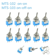 10pc/LOT Blue Mini MTS 102 3 Pin SPDT ON ON 6A 125VAC Miniature Toggle Switches  MTS 103 3 Pin  ON OFF ON