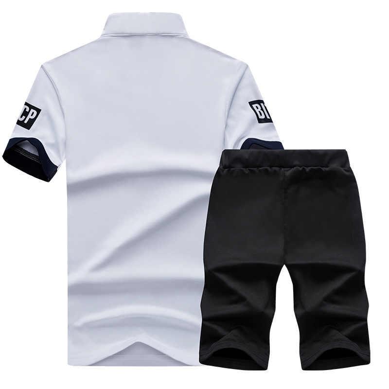 Masculino fino correndo juventude cor sólida impressão com decote em v esportes terno jogging masculino esporte shorts treino conjunto de fitness
