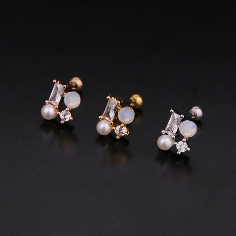 Creative Flower Earrings Stainless Steel Hypoallergenic Cartilage Earring 20g Helix Piercing Jewelry Conch Rook Lobe Tragus Stud