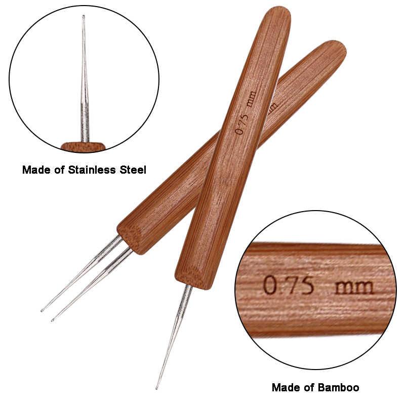 1 шт./3 шт. мягкий на ощупь стальной крючок для вязания крючком Профессиональный 0,75 мм деревянные дреды иглы дреды крючок для вязания косичек
