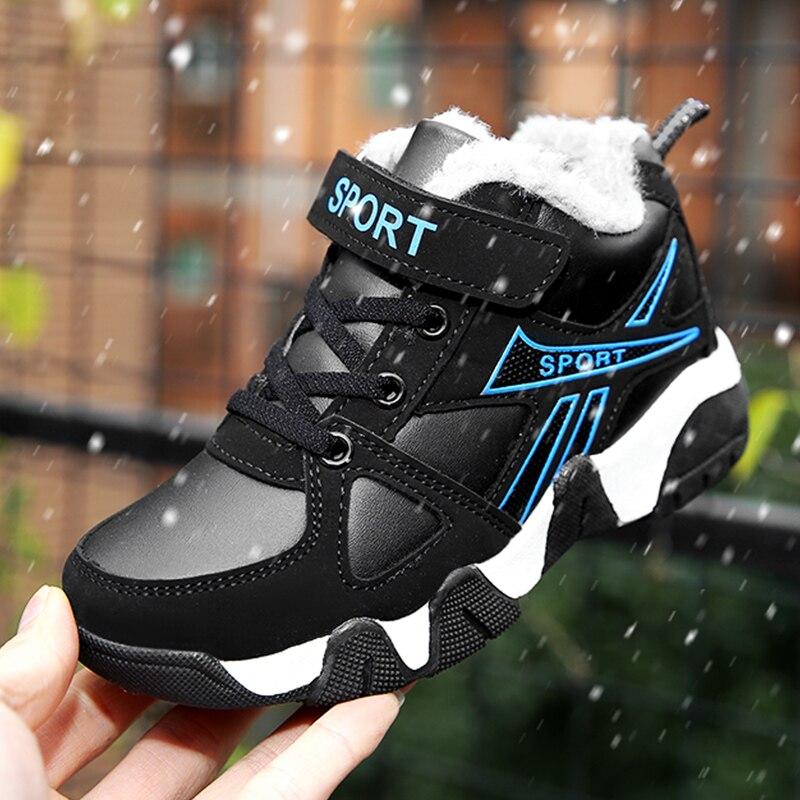 ULKNN Plush Warm Sneakers For Boys Winter Sapato Infantil Leather Waterproof Caual Shoe Kids Sports Shoes School Students Shoes