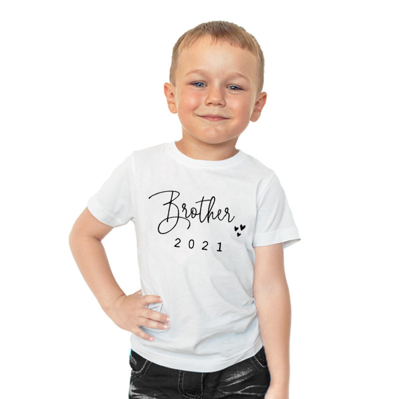 Promoted To Big Sister/Brother 2021Kids Tshirts Announcement Shirt Funny Girl Boy Short Sleeve Casual Tees Children Fashion Tops 3