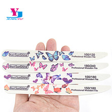 20Pcs/lot Wood Nail File Manicure Sanding File Nail Polish Double-sided Butterfly Professional Accessory Washable Nail Buffing