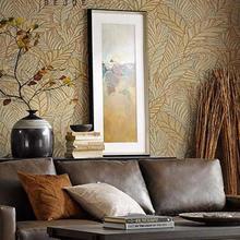 3D handmade gold leaf European style non-woven wallpaper modern minimalist luxury banana leaf living room bedroom