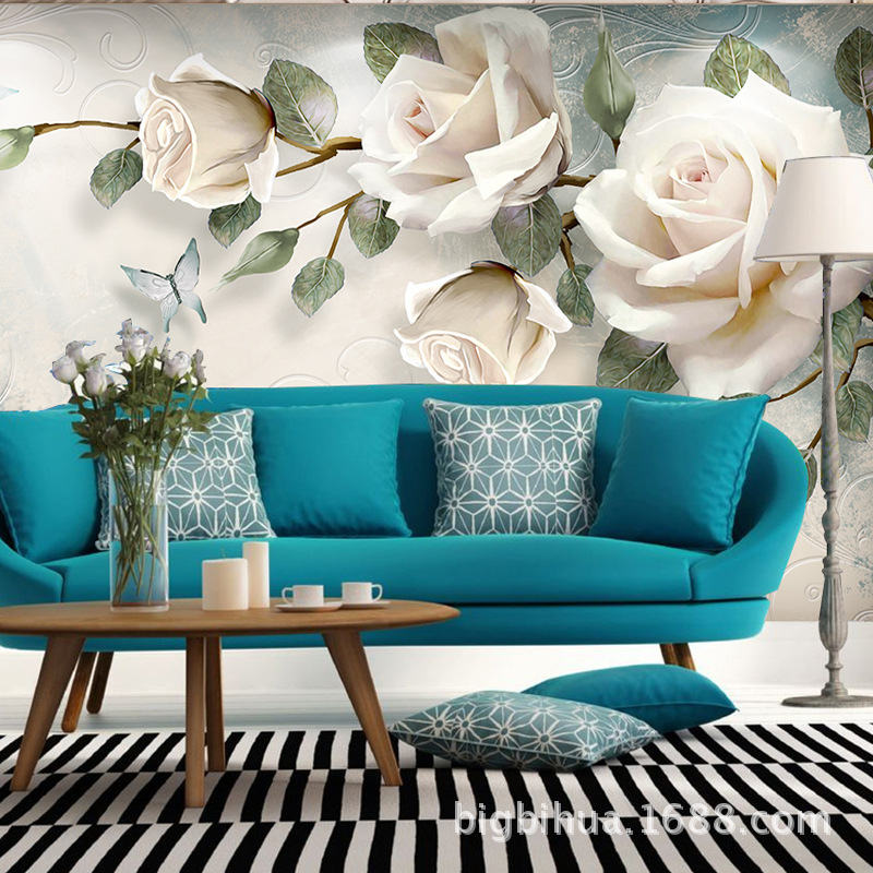 Beautiful Customizable Wallpaper Bedroom Living Room Non-woven Wallpaper Warm Peony Wall Seamless Wall Cloth Mural