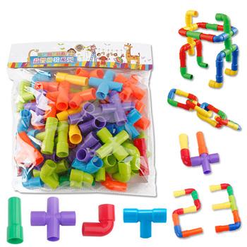 Kolorowe edukacyjne rury wodociągowe klocki zabawki dzieci DIY montaż rurociągu rurociągu tunelu bloku modelu zabawki dla dzieci #30 tanie i dobre opinie LISHEN Marble Runs Transport Z tworzywa sztucznego 8 ~ 13 Lat 2-4 lat 5-7 lat 14Y