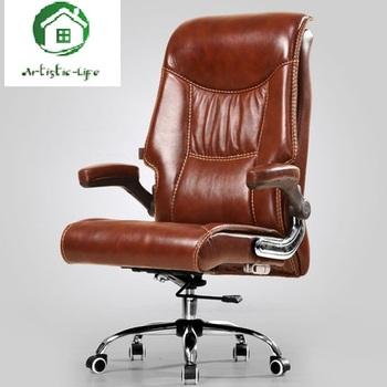 Skóra bydlęca krzesło do pracy na komputerze strona główna rozkładany podnośnik masaż fotel kierownika krzesło obrotowe biuro na fotel oferta specjalna bezpłatna wysyłka tanie i dobre opinie CN (pochodzenie)