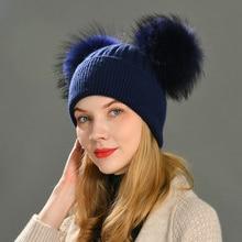 Double chapeau à pompon en fourrure de raton laveur pour femmes, chapeaux en laine, tricoté, crâne, bonnet deux en fourrure de raton laveur