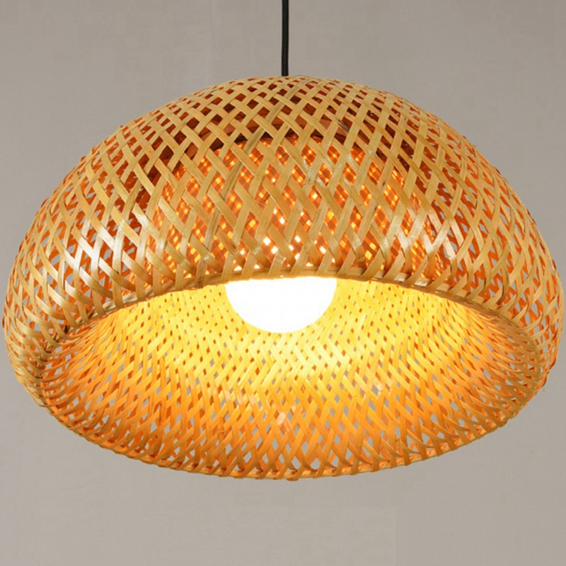 Bamboo Wicker Rattan Lampshade Hand-Woven Double Layer Bamboo Dome Lampshade Asian Rustic Japanese Lamp Design