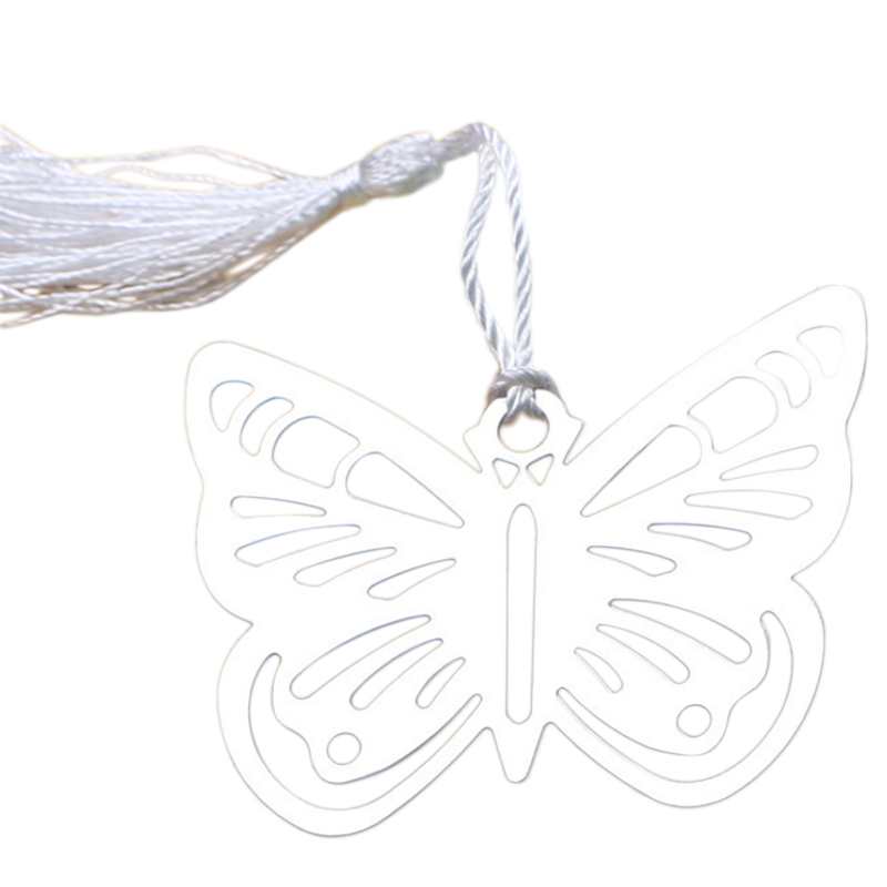Hollow Butterfly Bookmarks Metal With Mini Greeting Cards Tassels Kawaii Stationery Pendant Gifts Wedding Favors-12pcs