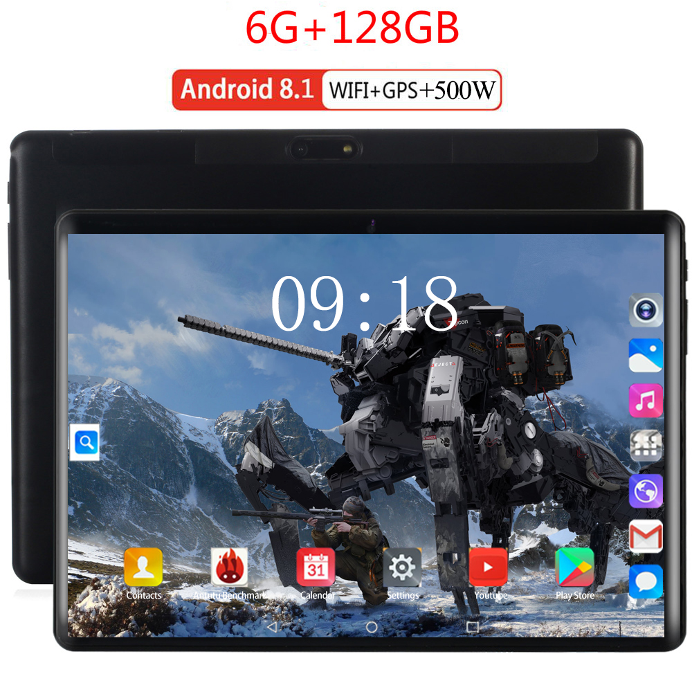 2020 Tablet Android 8.0 10 Core 128GB ROM 6GB Rom 3G 4G LTE 1920 1200 IPS 5MP SIM Card Ips Tablet 2.5D Tempered Glass 10.1 Inch