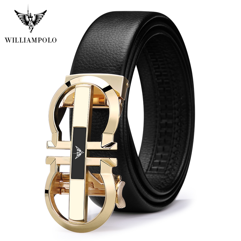 WILLIAMPOLO Brand Luxury Designer Leather Mens Genuine Leather Strap Automatic Buckle Waist Belt Gold Belt  Full-grain Leather