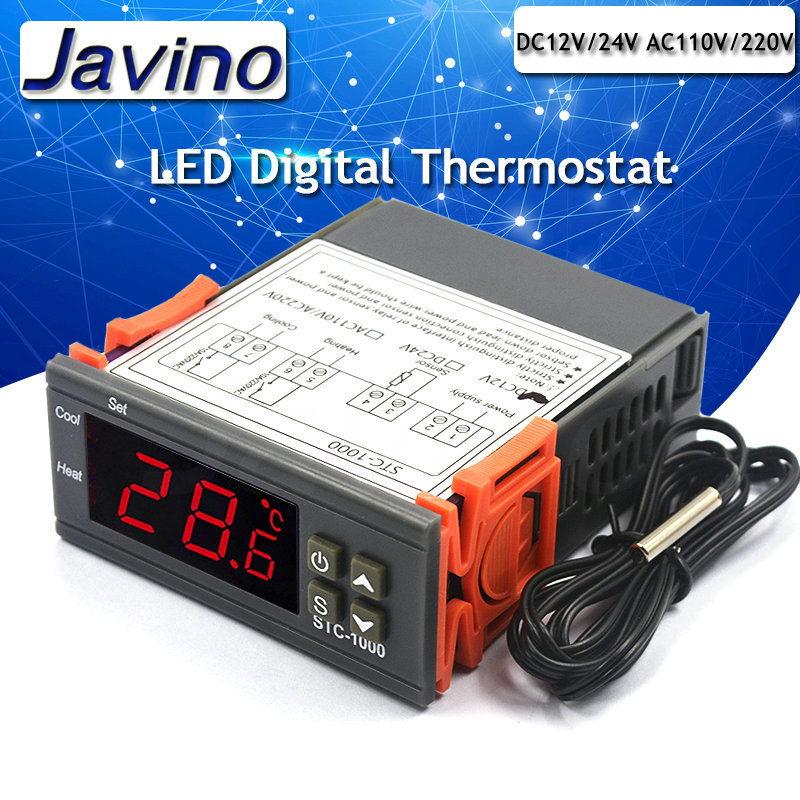 LED Digital Thermostat For Incubator Temperature Controller Thermoregulator Relay Heating Cooling DC12V DC24V AC110V-220V