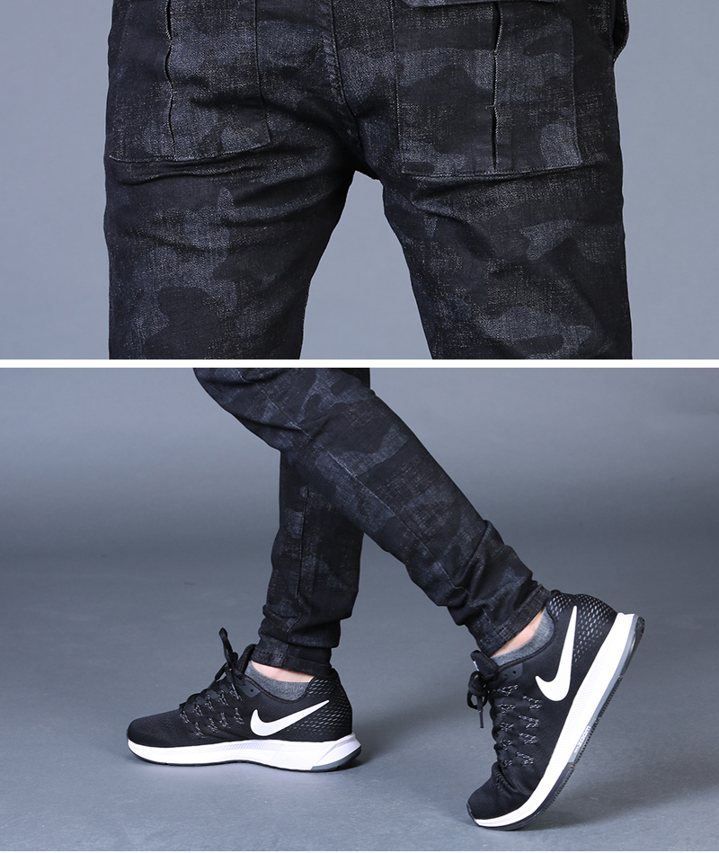 Free shipping new fashion men's male casual Original camouflage jeans men plus velvet autumn stitching pants Slim Korean C3129 86