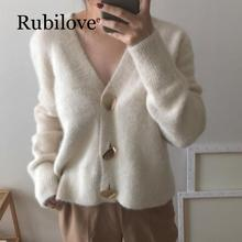 Rubilove Elegant Women Cardigans Casual V-Neck Knitted Sweaters Slim Autumn Winter Clothes jersey 2019