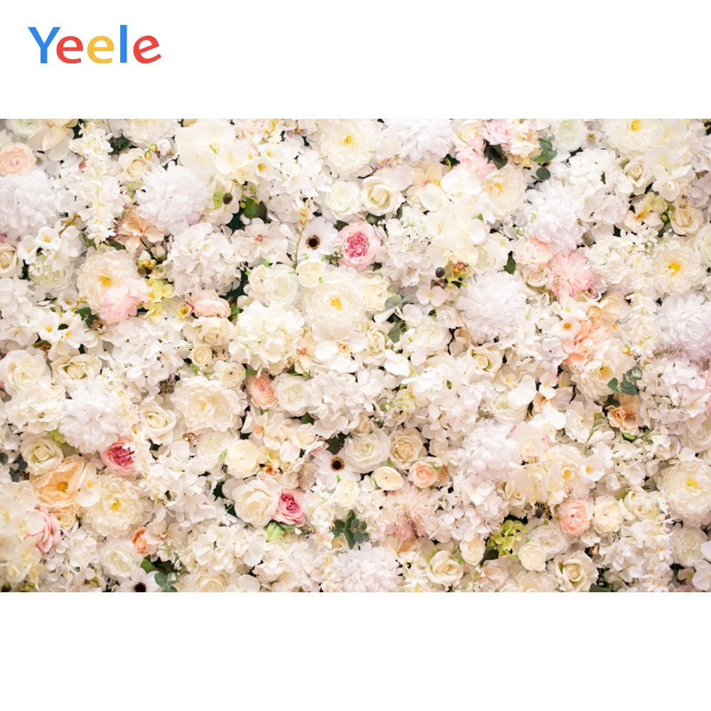 >Yeele Wedding Ceremony <font><b>White</b></font> Rose Flower <font><b>Wall</b></font> Party Photography Backdrops Personalized Photographic Backgrounds <font><b>For</b></font> Photo Studio
