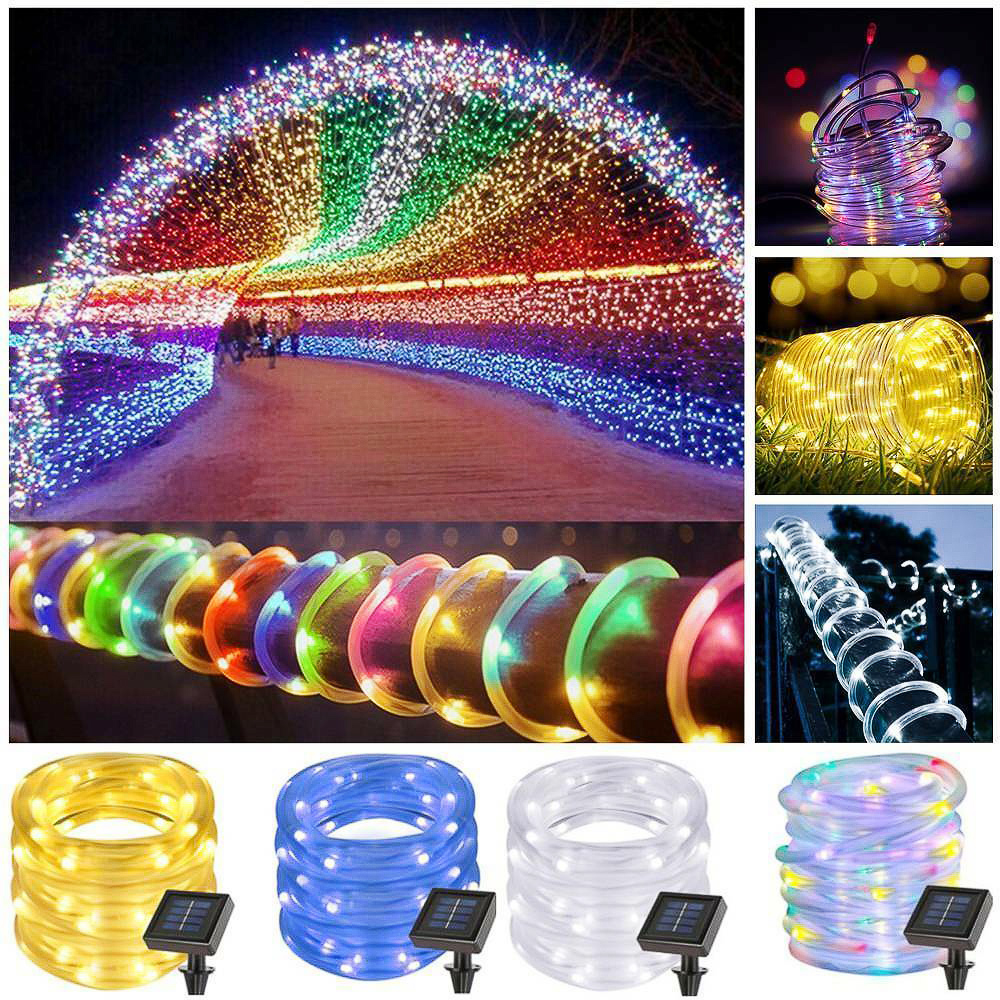 Junejour 6w 50/100LED Solar Powered Tube String Fairy Light  Outdoor Waterproof  Copper Wire Lights For Festival Decoration