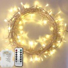 Светодиодная сказочная гирлянда 5 м/10 м, работающая от батарейки с 8 режимами дистанционного управления, Рождественская яркая гирлянда