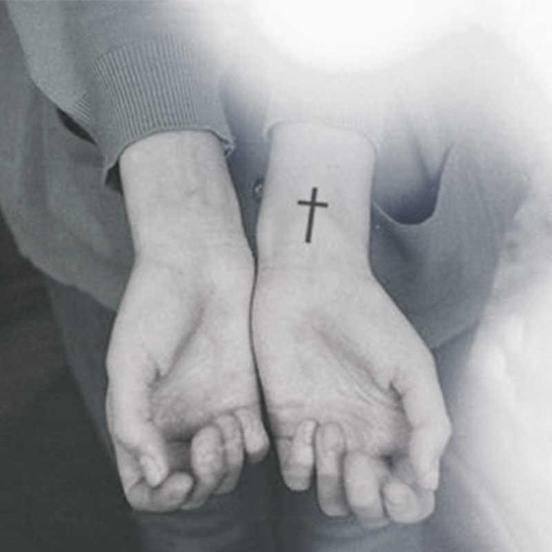 Impermeabile Autoadesivo Del Tatuaggio Temporaneo piccola croce tatuaggio di trasferimento dell'acqua dito flash del tatuaggio del tatuaggio di falsificazione per le donne della ragazza uomini