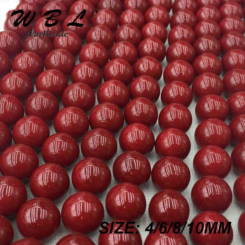 Thiên Nhiên Cao Cấp Đá San Hô Đỏ Hạt Tròn Rời Hạt Sỉ 4mm 6mm 8mm 10mm Cho TỰ LÀM Vòng Tay Vòng Cổ Trang Sức Làm