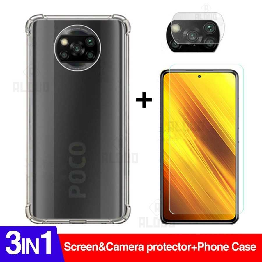 3in1 Poco X3 Case Glas Camera Screen Protector Voor Xiaomi Poco X3 Nfc Global Versie X 3 Clear Anti-shock Cover Xiomi Pocox3