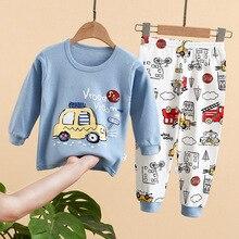 Girls Nightwear Pajamas-Set Kids Sleepwear Cartoon-Pattern Cotton Children Casual O-Neck